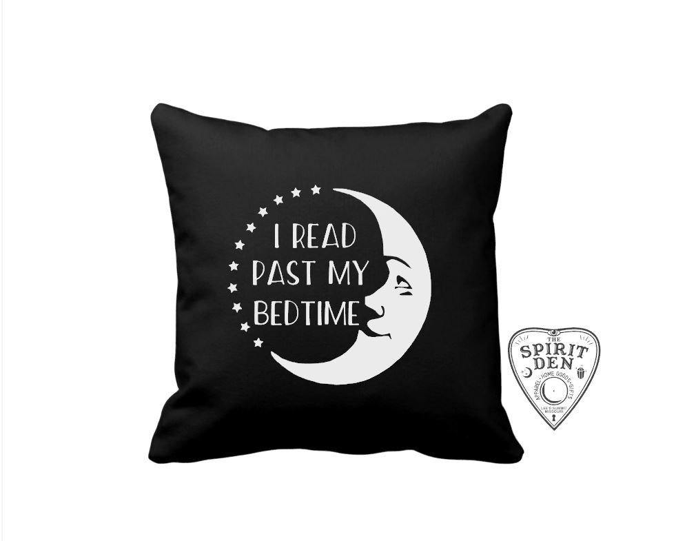 I Read Past My Bedtime Moon Black Pillow