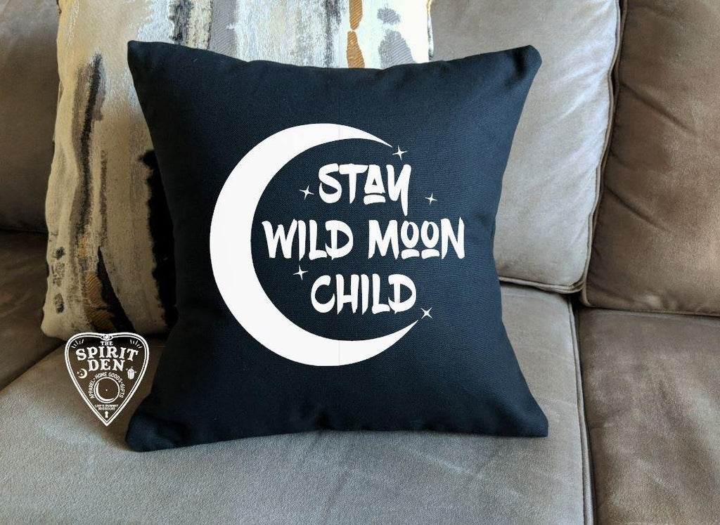 Stay Wild Moon Child Black Cotton Pillow
