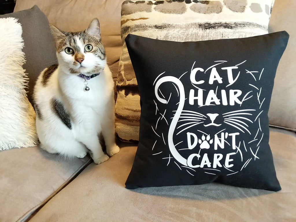 Cat Hair Don't Care Black Pillow