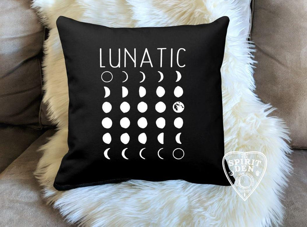 Lunatic Moon Phases Black Pillow