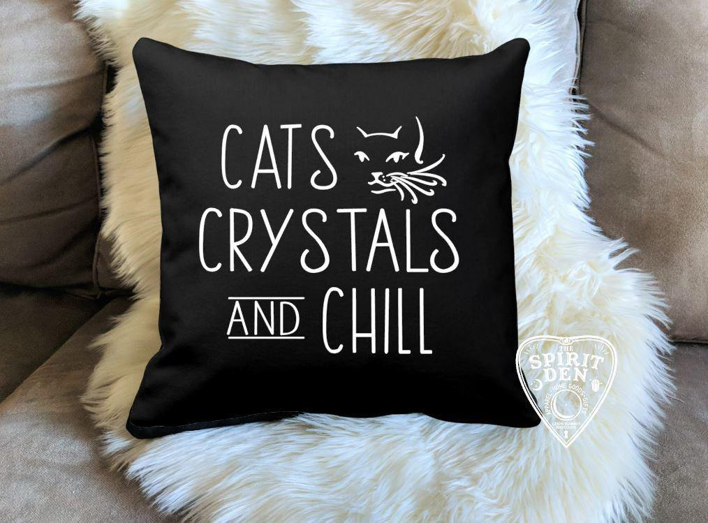Cats Crystals and Chill Black Cotton Pillow