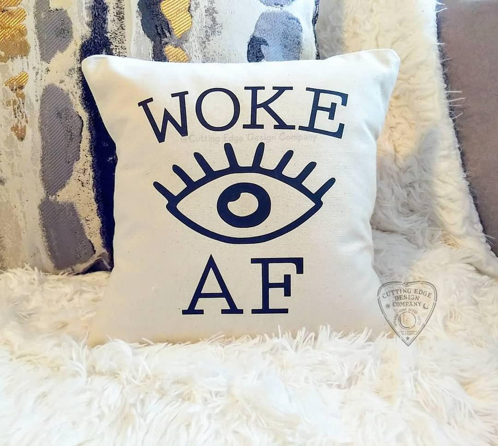 Woke AF Eye Cotton Canvas Natural Pillow