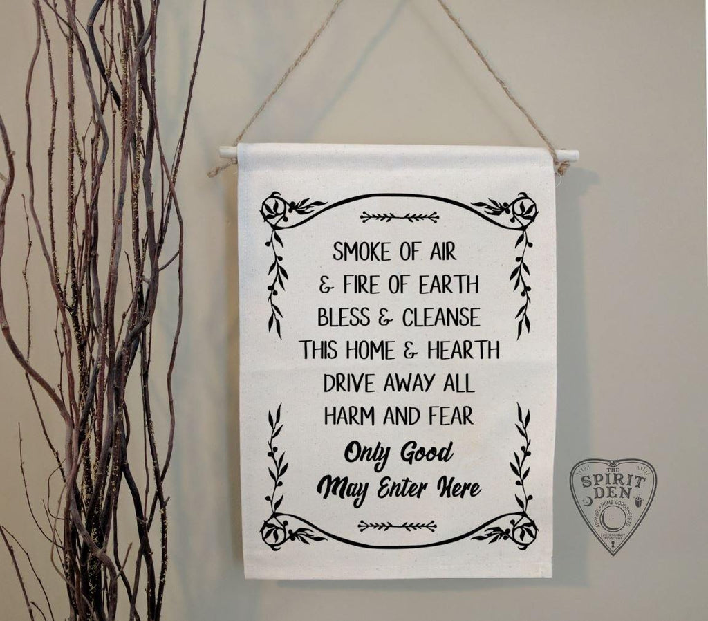 Home Blessing Only Good May Enter Here Cotton Canvas Wall Banner