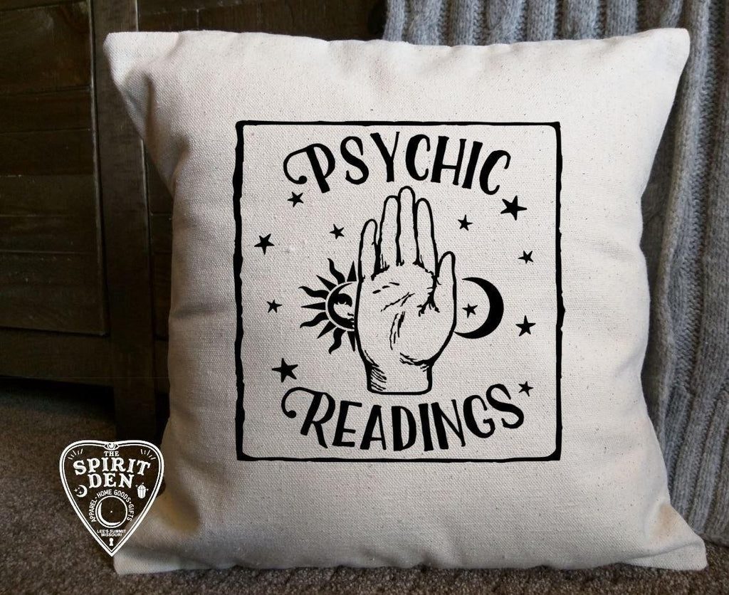 Psychic Readings Cotton Canvas Natural Pillow