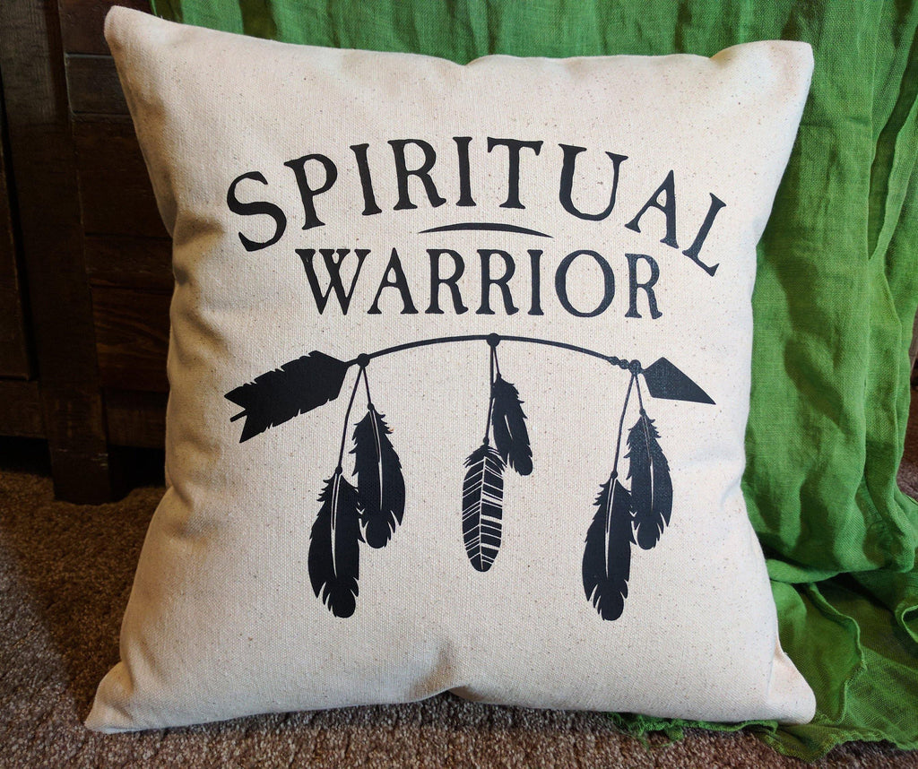 Spiritual Warrior Cotton Canvas Natural Pillow