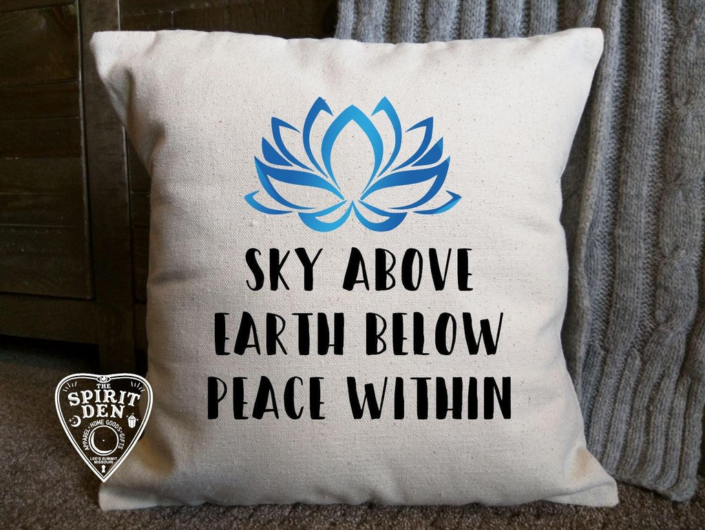 Sky Above Earth Below Peace Within Natural Cotton Pillow