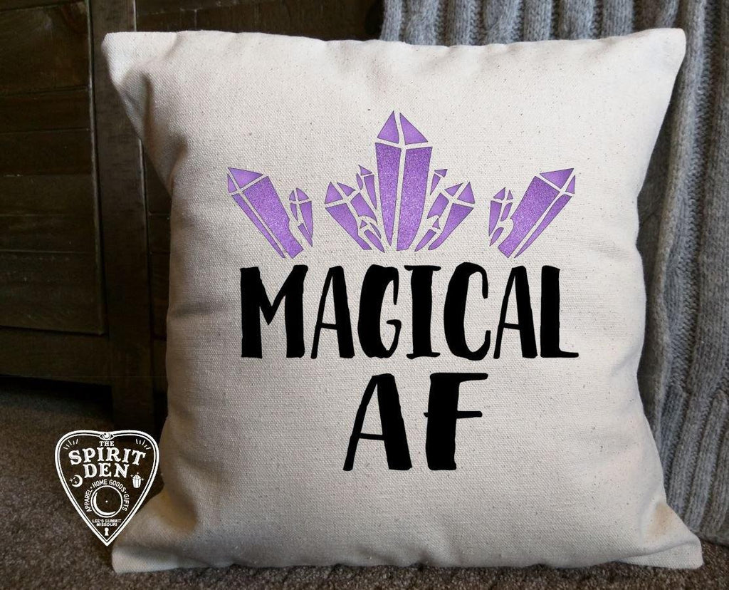Magical AF Cotton Canvas Natural Pillow