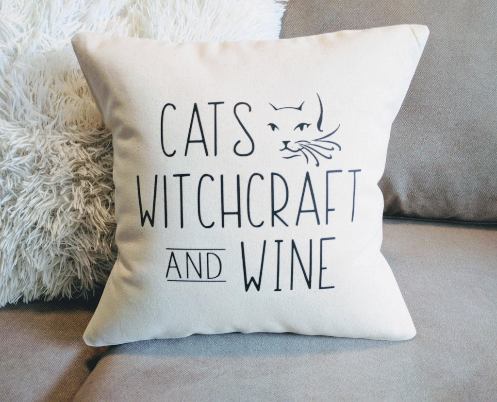 Cats Witchcraft and Wine Cotton Canvas Natural Pillow