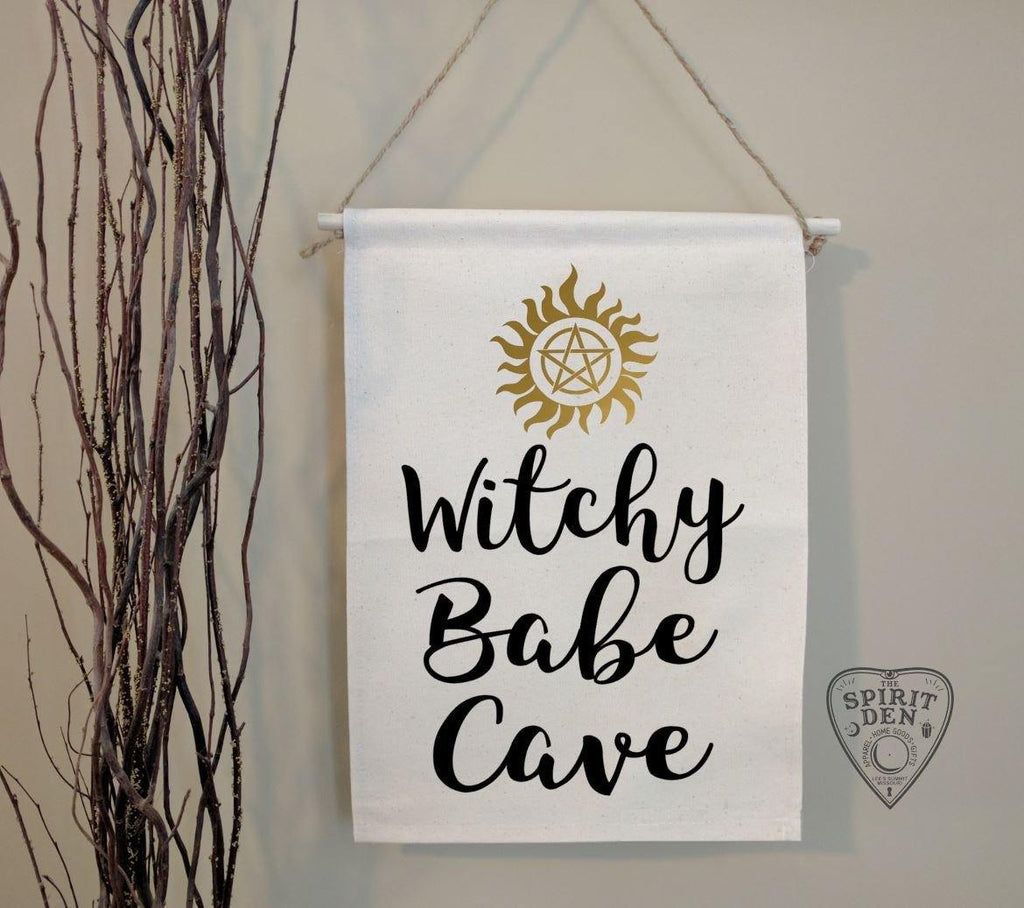 Witchy Babe Cave Cotton Canvas Wall Banner