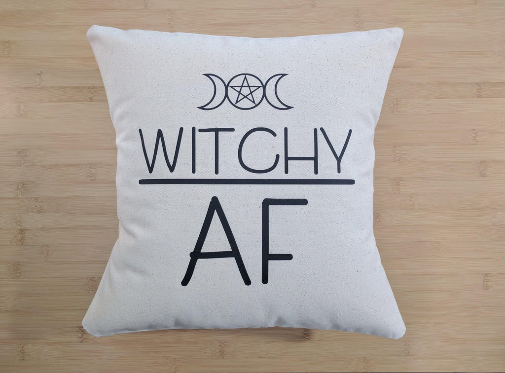 Witchy AF Pentagram Moon Cotton Canvas Natural Pillow