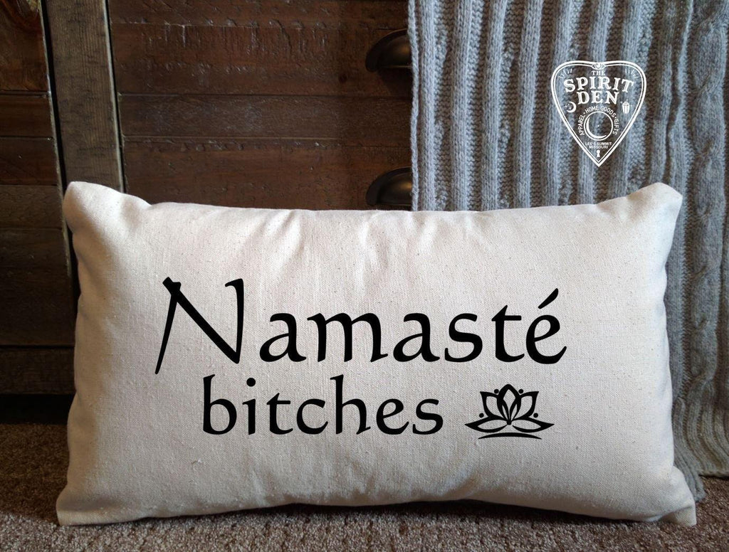 Namaste Bitches Cotton Canvas Lumbar Pillow
