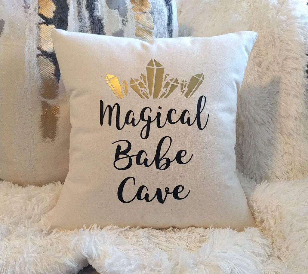 Magical Babe Cave Cotton Canvas Natural Pillow