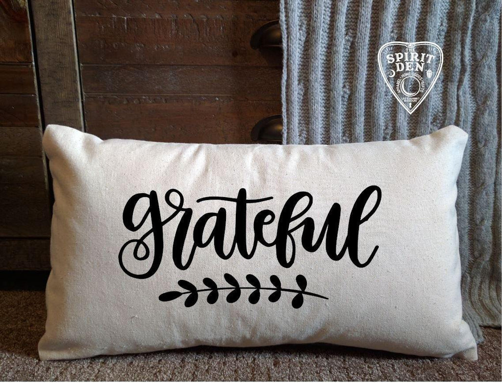 Grateful Cotton Canvas Lumbar Pillow