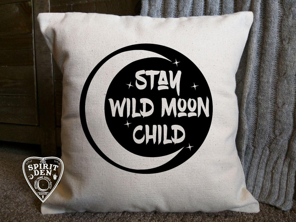 Stay Wild Moon Child Cotton Canvas Pillow
