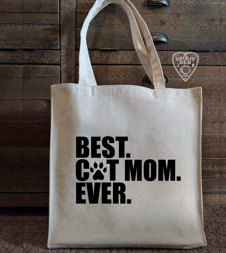 Best Cat Mom Ever Cotton Canvas Market Tote Bag
