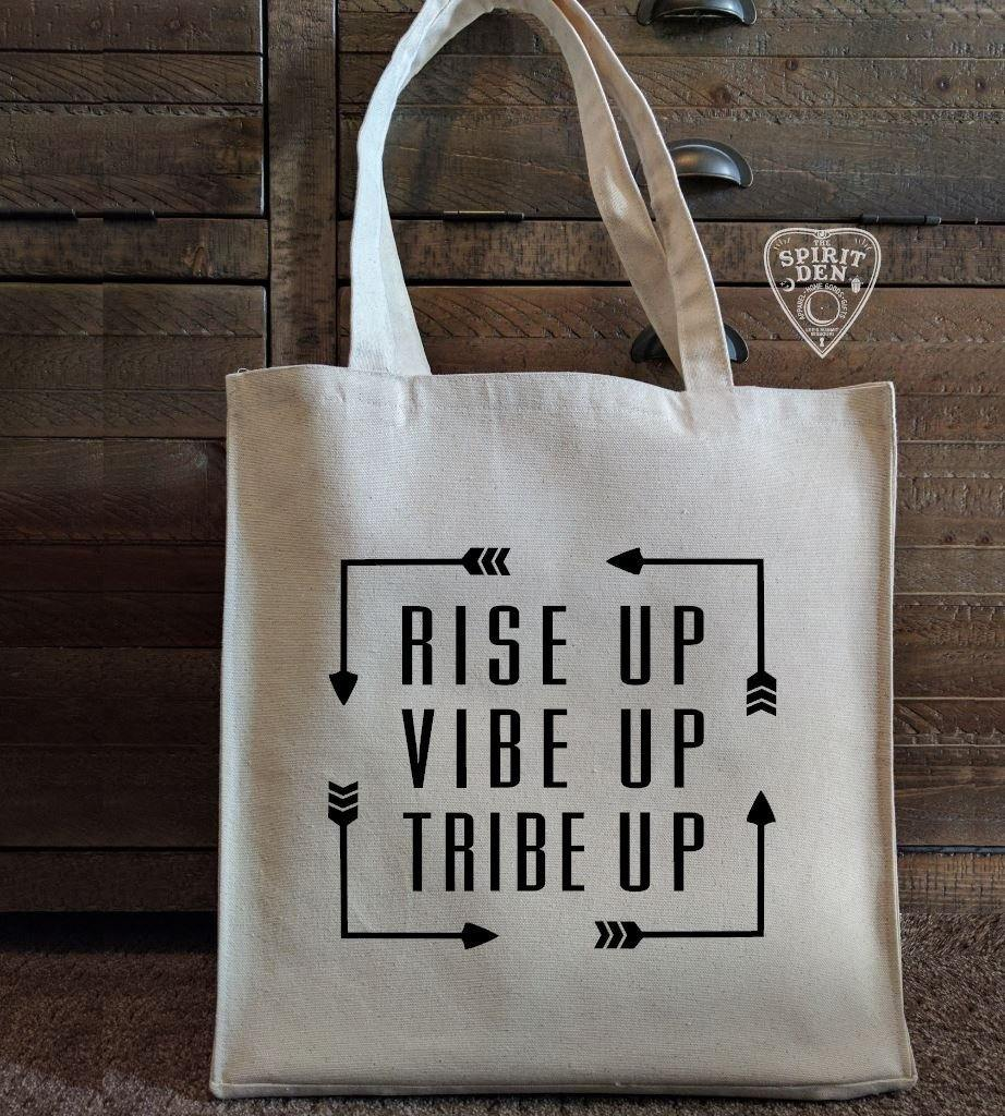 Rise Up Vibe Up Tribe Up Canvas Market Tote Bag