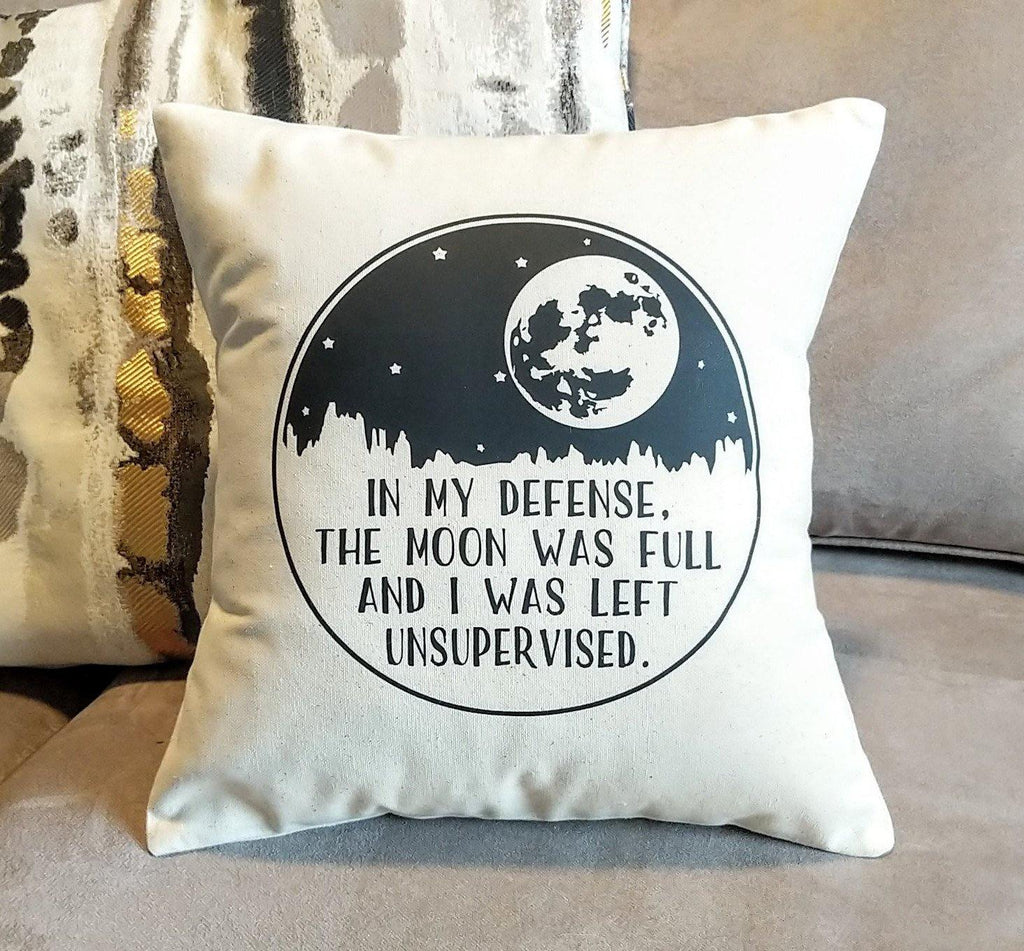 In my defense Moon Cotton Canvas Pillow