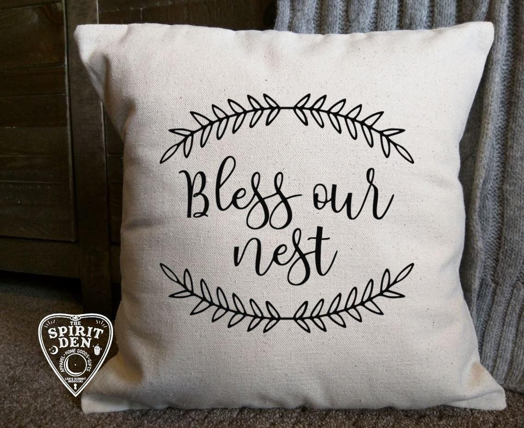 Bless our Nest Cotton Canvas Natural Pillow