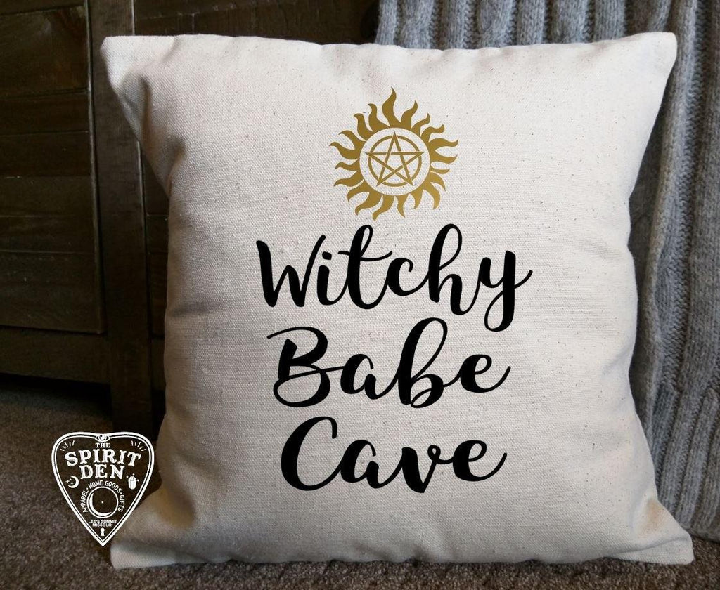 Witchy Babe Cave Cotton Canvas Natural Pillow