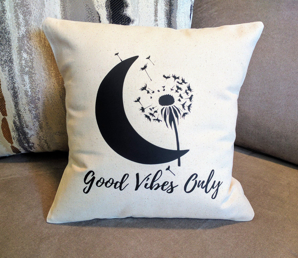 Good Vibes Only Moon Dandelion Cotton Canvas Natural Pillow