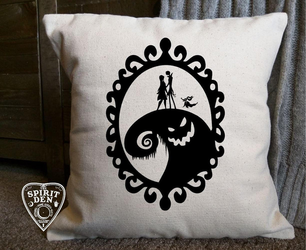 Nightmare Before Christmas Oogie Boogie Cotton Canvas Natural Pillow