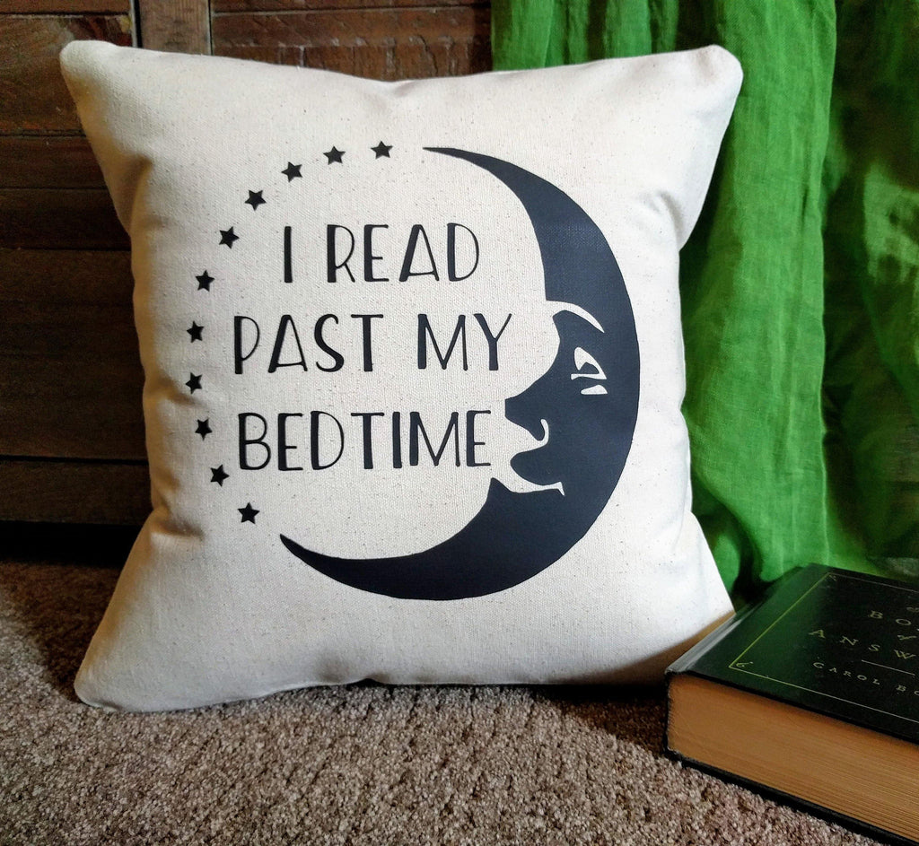 I Read Past My Bedtime Moon Cotton Canvas Pillow