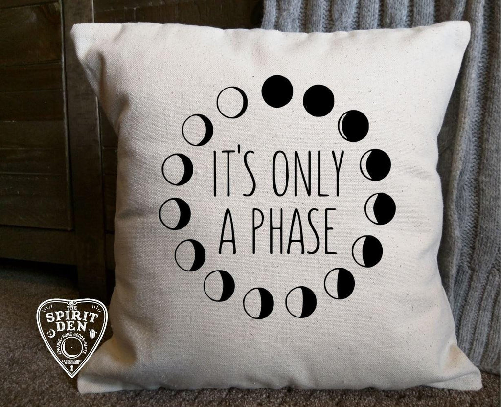 Its Only A Phase Moon Phases Cotton Canvas Natural Pillow