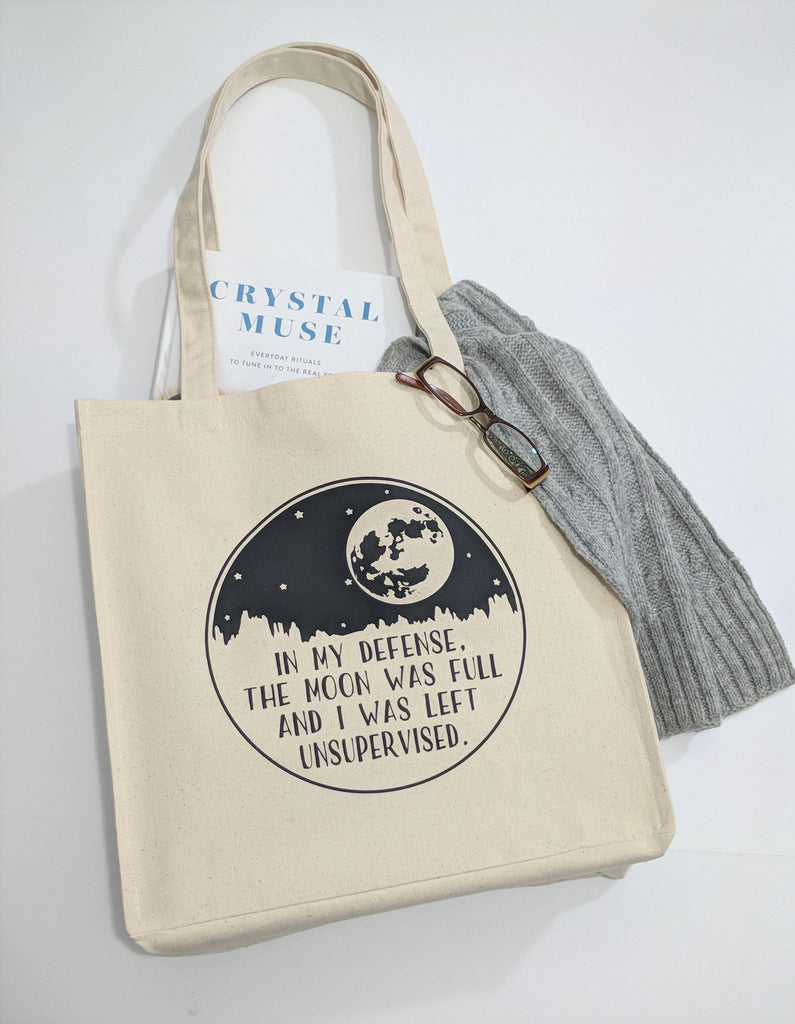 In My Defense The Moon Was Full And I Was Left Unsupervised Canvas Market Tote Bag
