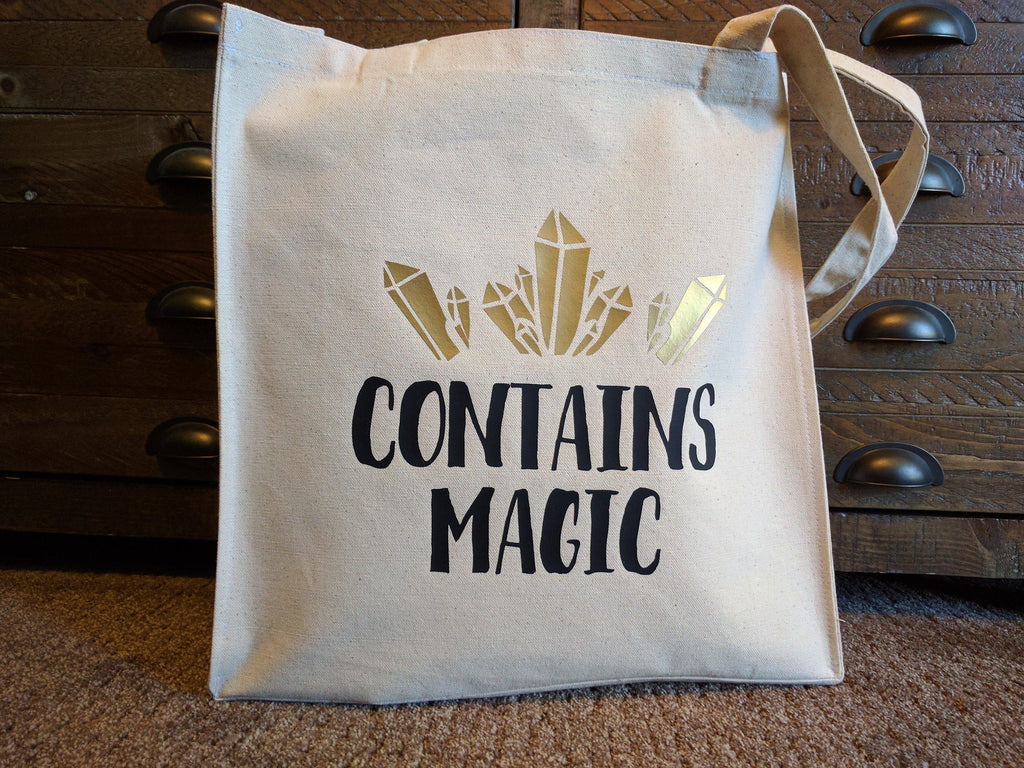 Contains Magic Quartz Crystal Cotton Canvas Market Tote Bag