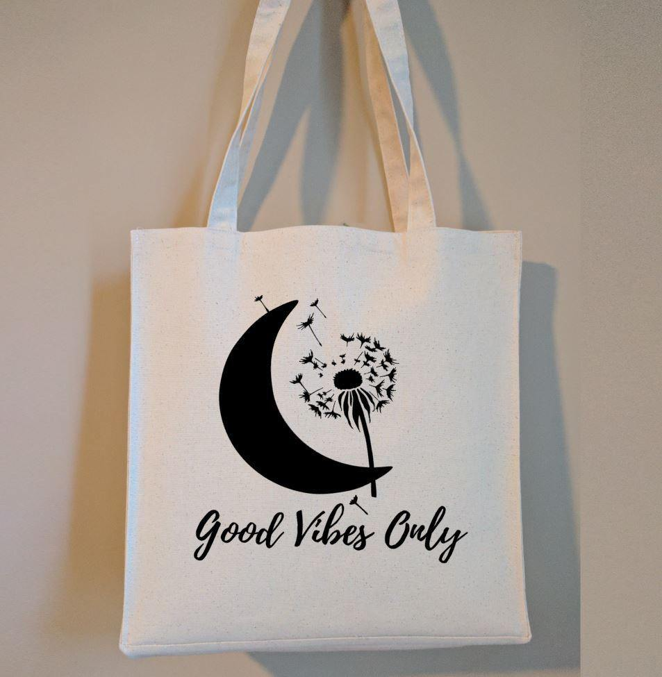 Good Vibes Only Cotton Canvas Market Tote Bag