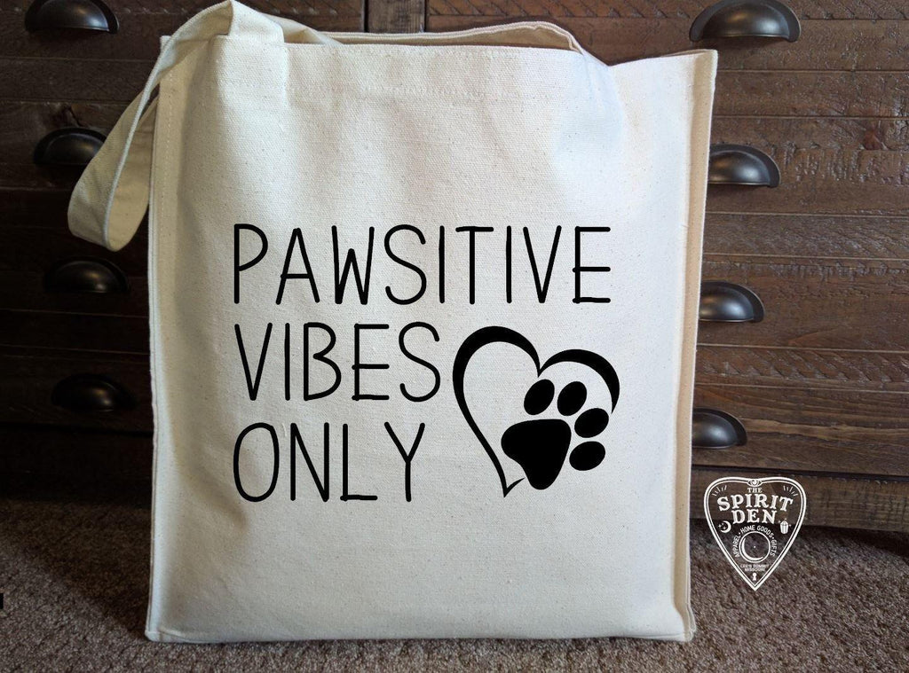 Pawsitive Vibes Only Cotton Canvas Market Bag