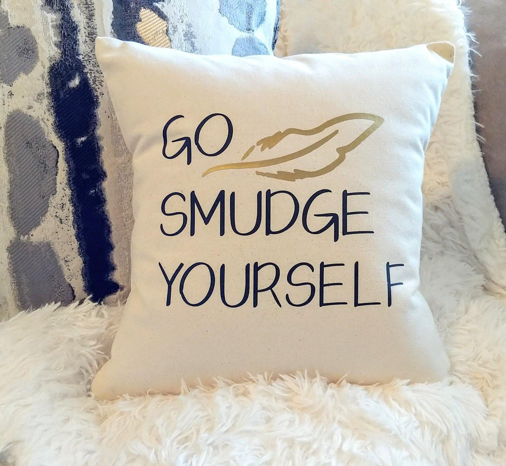 Go Smudge Yourself Cotton Canvas Natural Pillow