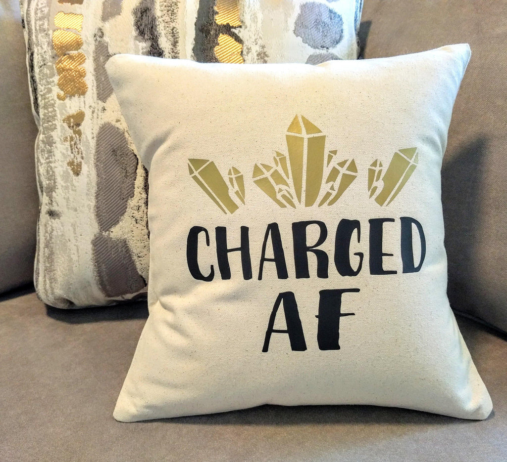 Charged AF Cotton Canvas Natural Pillow