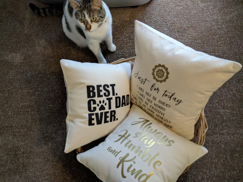 Best Cat Dad Ever Cotton Canvas Natural Pillow