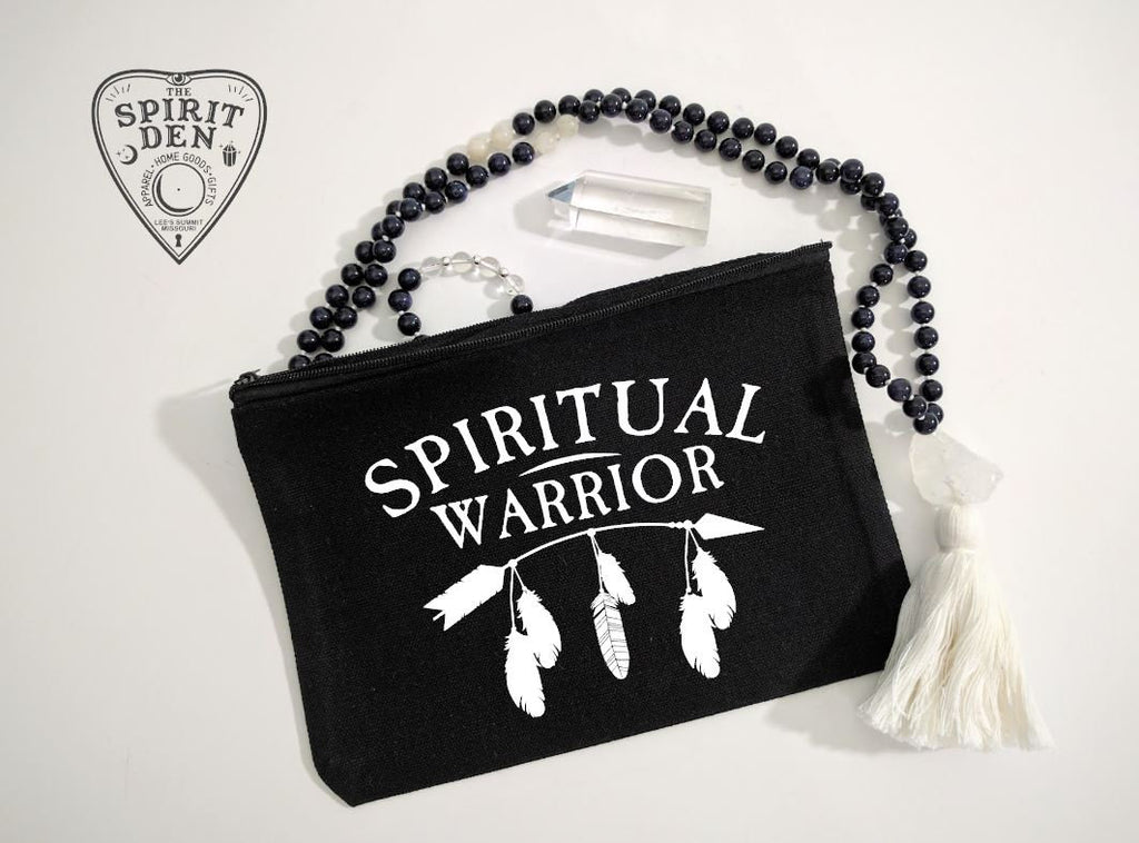 Spiritual Warrior Black Canvas Zipper Bag
