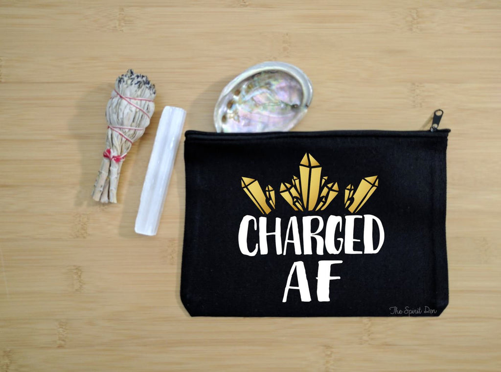 Charged AF Black Canvas Zipper Bag