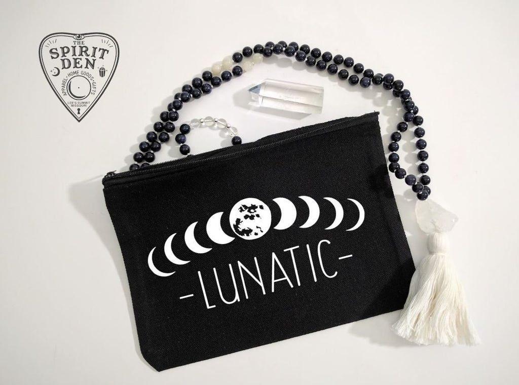Moon Phase Lunatic Black Canvas Zipper Bag