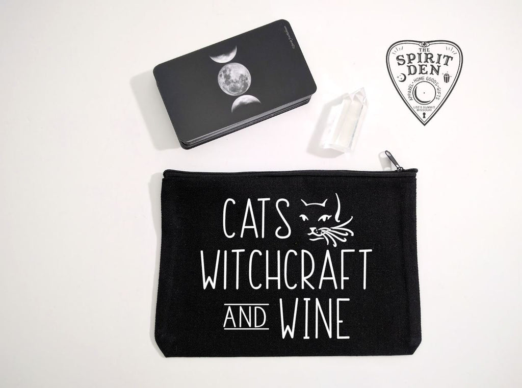 Cats Witchcraft And Wine Black Canvas Zipper Bag