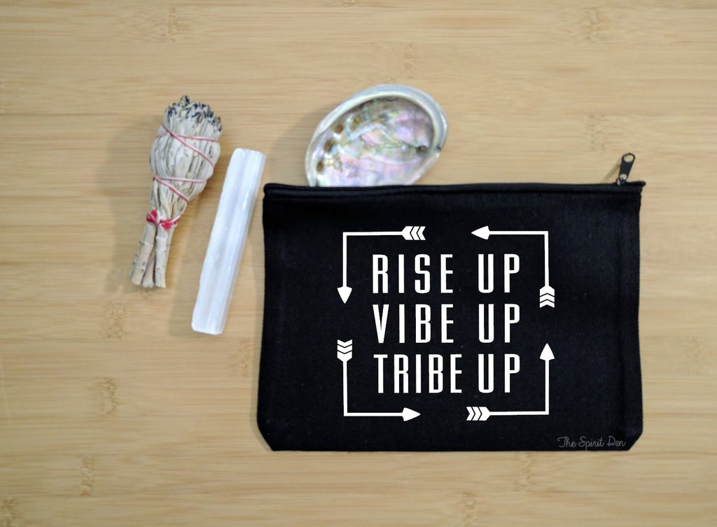 Rise Up Vibe Up Tribe Up Black Canvas Zipper Bag
