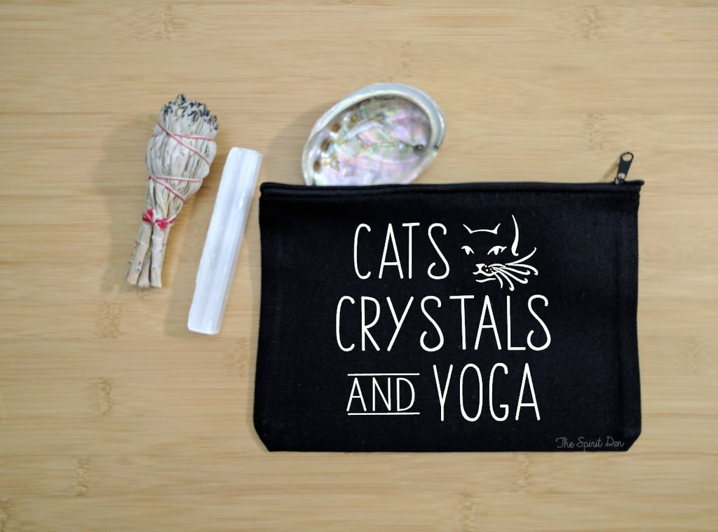 Cats Crystals and Yoga Black Canvas Zipper Bag