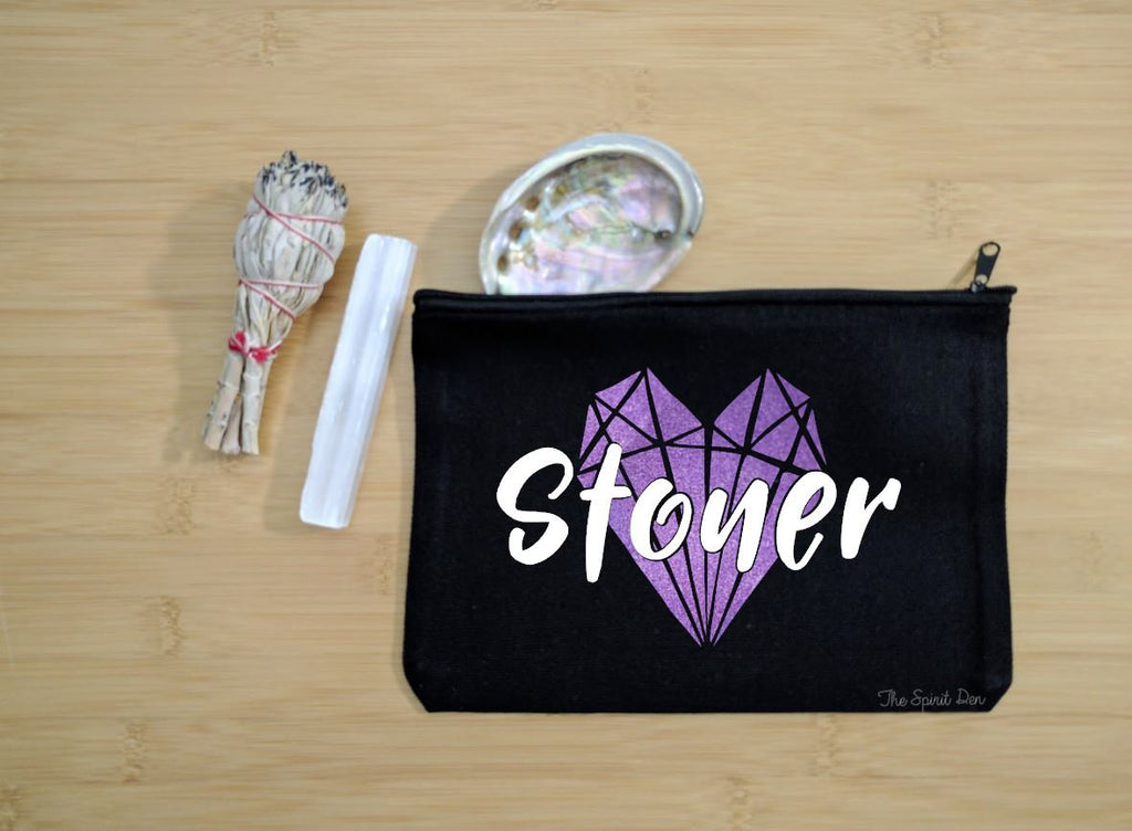Stoner Crystals Black Zipper Bag
