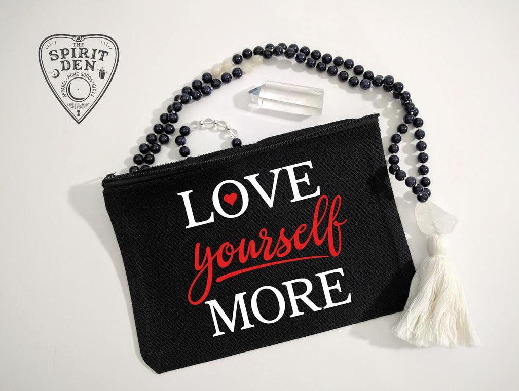Love Yourself More Black Canvas Zipper Bag