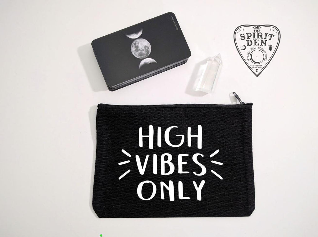 High Vibes Only Black Canvas Zipper Bag