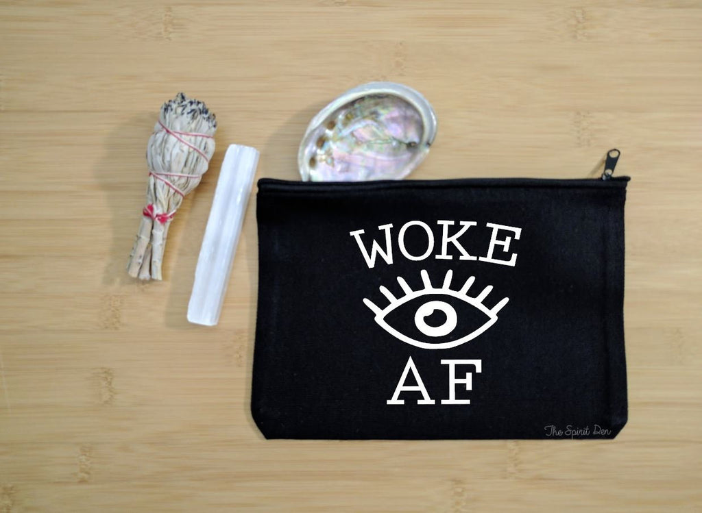 Woke AF Third Eye Black Canvas Zipper Bag