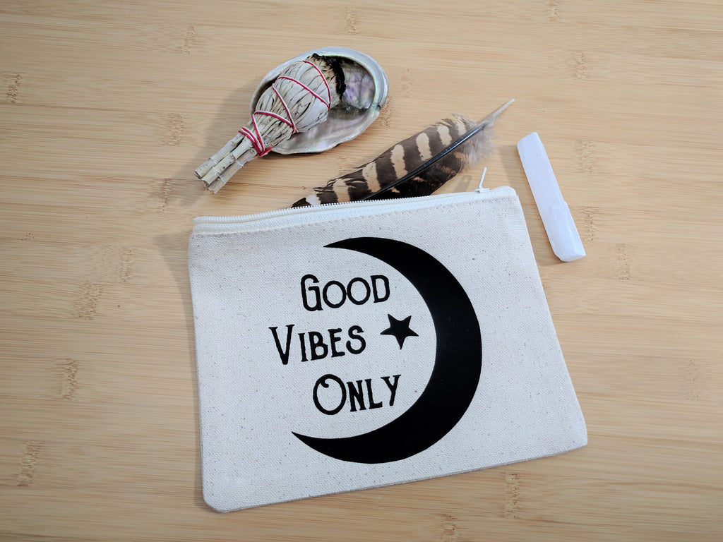 Good Vibes Only Moon Canvas Zipper Bag