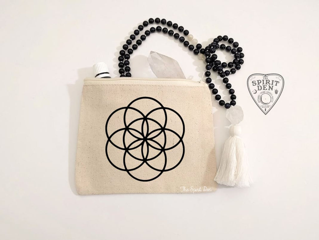 Seed of Life Crystal Grid Natural Canvas Zipper Bag