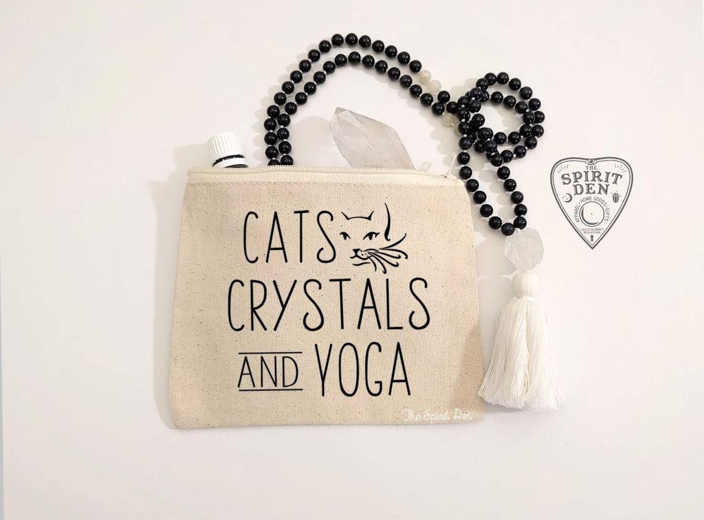 Cats Crystals an Yoga Canvas Zipper Bag