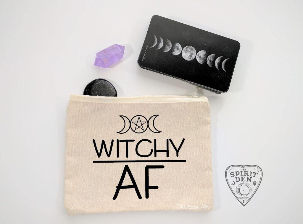 Witchy AF Canvas Zipper Bag