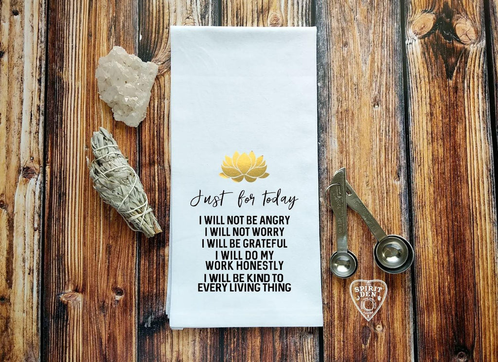 Reiki Principles Just For Today Flour Sack Towel