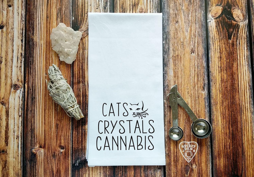 Cats Crystals Cannabis Flour Sack Towel